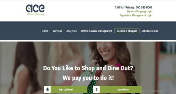 ACE Mystery Shopping Sign Up Page