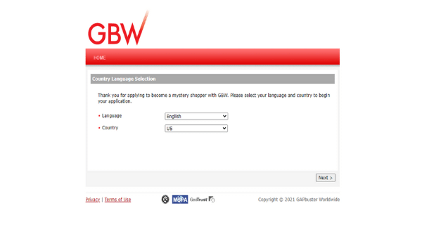 GBW Sign Up Page