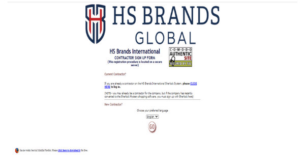 HS Brands Global Sign Up Page
