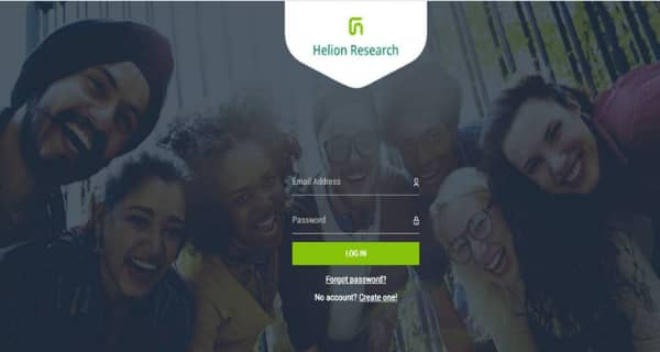 Helion Research Sign Up Page