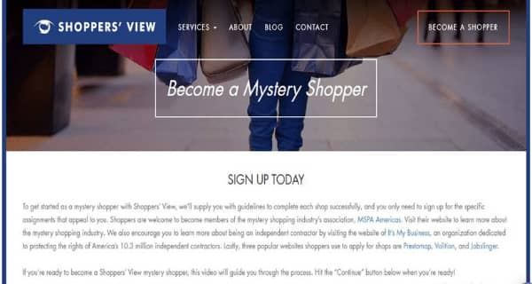 Shoppers View Sign Up Page
