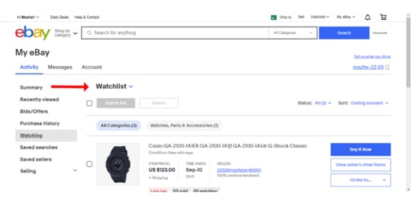 Your products on eBay Watch list