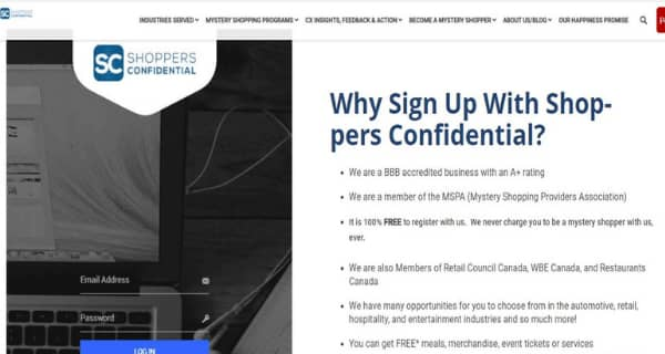 Shoppers Confidential Sign Up Page